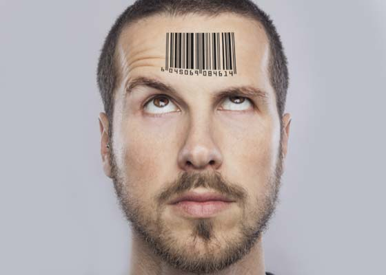 barcode on a guy's forehead